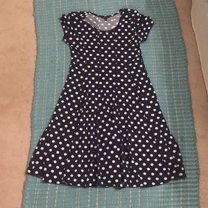 Dark Navy Blue Polka Dot Dress